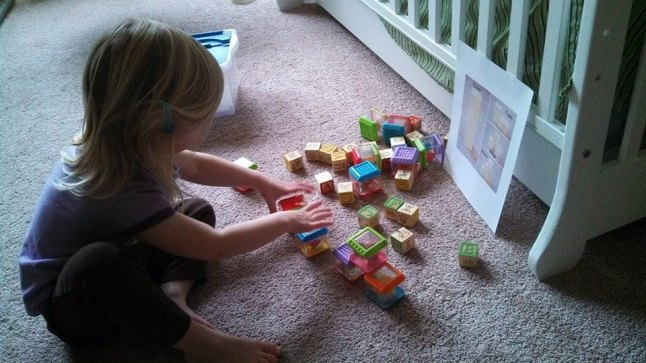 Building structures with blocks with printout from Basic Shapes for Beginners